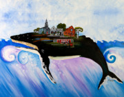 Humpback Whale Painting Framed Prints - Sandwich - A Whale of a Town Framed Print by Theresa LaBrecque