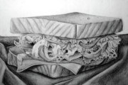 Bread Originals - Sandwich Drawing by Nancy Mueller