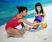 Beach Art Posters - Sandy and Sunny Poster by Judy Kay