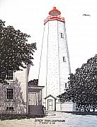 Landscape Drawings Posters - Sandy Hook Lighthouse Drawing Poster by Frederic Kohli