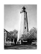 Lighthouse Drawings - Sandy Hook Lighthouse by Greg DiNapoli