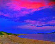 Summer - Sandy Hook NJ Moonrise by Linnea Tober