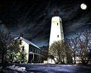 Snowy Night Photo Posters - Sandy Hook on a Winter Night Poster by Lois Wilkes