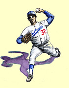 Pitcher Drawings Metal Prints - Sandy Koufax Metal Print by Mel Thompson