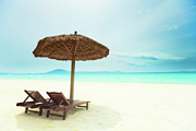 Daybed Posters - Sandy tropical beach Poster by MotHaiBaPhoto Prints