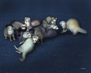 Pets Digital Art - Sandys Ferrets by Barbara Hymer