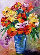 Mj Painting Prints - Sandys Flowers Print by Mary Jo  Zorad