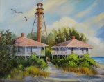 Ocean Landscape Originals - Sanibel Lighthouse by Dianna  Willman