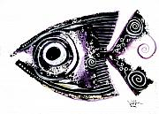 Aboriginal Art Painting Framed Prints - Sanity Fish IX Framed Print by J Vincent Scarpace