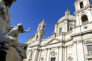 Figures Metal Prints - Sant Agnese in Agone. Piazza Navona. Rome Metal Print by Bernard Jaubert