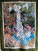 Background Tapestries - Textiles Framed Prints - Santa Amelia Waterfall quilt Framed Print by Sarah Hornsby