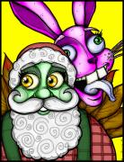 Creepy Digital Art Posters - Santa and Bunny Poster by Christopher Capozzi
