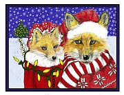 Fox Pastels Prints - Santa and Ms Fox Print by Marla Saville
