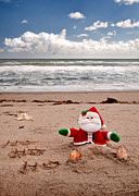 Santa Claus Posters - Santa At The Beach Poster by Steven Sparks