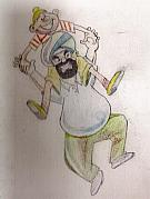 King Pastels Originals - Santa Banta in Happy Mood by SP Singh