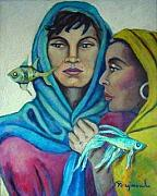 Yemaya Paintings - Santa Barbara and Yemaya by Yasemin Raymondo