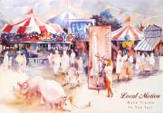 Red White And Blue Paintings - Santa Barbara County Fair  by Joan  Jones