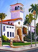 Santa Barbara Paintings - Santa Barbara Court House by Dorothy Nalls