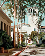 Santa Barbara Paintings - Santa Barbara Courthouse by Douglas Fincham