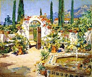 Canvas Reproduction Paintings - Santa Barbara Courtyard by Pg Reproductions