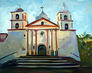 Impressionist Mixed Media Acrylic Prints - Santa Barbara Mission Acrylic Print by Filip Mihail