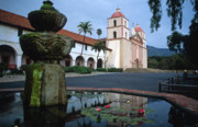 California Prints Prints - Santa Barbara Mission with Fountain 2 Print by Kathy Yates