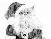 Kelly Drawings Posters - Santa Cat Poster by Kelly Tisdale