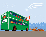Kris Kringle Framed Prints - Santa Claus Double Decker Bus Framed Print by Aloysius Patrimonio