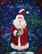 Clas Prints - Santa Claus Eating Print by Sylvia Pimental 