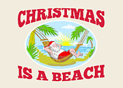 Father Christmas Prints - Santa Claus Father Christmas Beach Relaxing Print by Aloysius Patrimonio