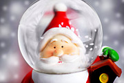 Santa Claus Posters - Santa Claus in the snow globe Poster by Anna Omelchenko