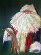 White Fur Prints - SANTA CLAUS  Making a List and Checking it Twice Print by Shelley Schoenherr