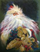 Brown Pastels Metal Prints - SANTA CLAUS Riding Up Front with the Big Guy  Metal Print by Shelley Schoenherr