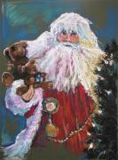 Artwork Pastels Prints - SANTA CLAUS Santa of the Tree Print by Shelley Schoenherr