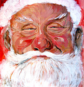 Christmas Greeting Painting Framed Prints - Santa Claus Framed Print by Tom Roderick