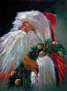 Artwork Pastels Prints - SANTA CLAUS with Sleigh Bells and Wreath  Print by Shelley Schoenherr