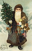 Father Christmas Paintings - Santa Claus with Toys by American School