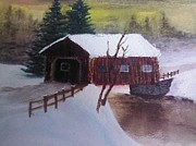 Santa Clause Sleigh Route Covered Bridge 1 Print by Jason Layne