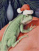 Animal Drawings Prints - Santa Claws - Bob the Lizard Print by Amy S Turner