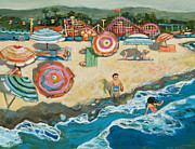 Children Painting Originals - Santa Cruz Beach Boardwalk by Jen Norton