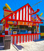 Santa Cruz Boardwalk - Hot Dog Stand Print by Gregory Dyer