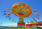 Santa Cruz Boardwalk - Tilt-a-whirl - 04a Print by Gregory Dyer