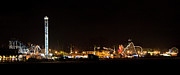 Roller Coaster Photos - Santa Cruz Boardwalk by Night by Brendan Reals