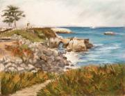 Sailboat Ocean Pastels - Santa Cruz by the Bay by Ann Caudle