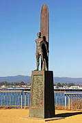 Surf Photos Art Prints - Santa Cruz Surfer Statue Print by Paul Topp
