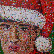 Elvis Presley Art Painting Originals - Santa Elvis by Denise Landis