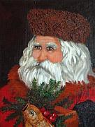 Oil Painting - Santa by Enzie Shahmiri