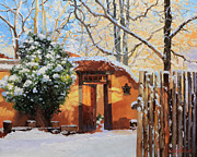 Adobe Buildings Prints - Santa Fe adobe in winter snow Print by Gary Kim