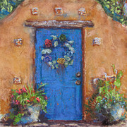 Adobe Building Pastels Posters - Santa Fe Blue Poster by Julia Patterson