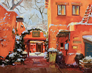 Adobe Buildings Prints - Santa Fe Cafe Print by Gary Kim